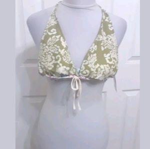 Lucky Brand Green White Vine Print Bikini.Top Swim